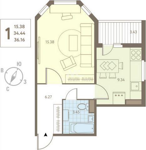 Продаётся 1-комнатная квартира в ЖК Инстеп.Свиридова! Цена 2 476 960 руб., стоимость 68 500 руб./кв.м. Площадь 36,16 кв.м., площадь кухни 9,34 кв.м., площадь балкона 3,43 кв.м. Жилой комплекс «Инстеп.Свиридова» представляет собой панельное здание. За...