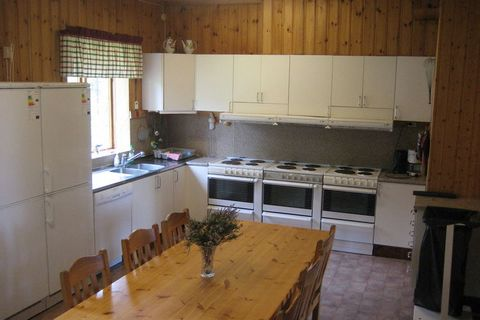 This quiet and expansive 14-bedroom holiday home in Sysslebäck can accommodate up to 50 guests. Ideal for a large group and families with children, this home also has a private garden and a sauna to unwind. Situated in the countryside, the location o...