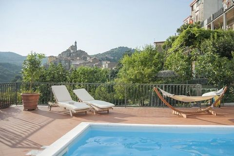With a swimming pool, a porch and a tennis table, this holiday home in Vibonati is equipped with every luxury. It can accommodate 14 people, which is ideal for several families or groups of friends. Vibonati is an idyllic town on a hill in the distan...