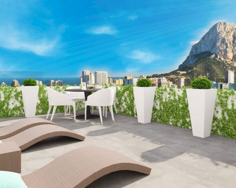 Penthouse for sale in Calpe, Costa Blanca, Alicante. Two newly built buildings located 3 min walk to the Arenal-Bol beach, surrounded by all desirable facilities such as restaurants, supermarkets, shops, cafes, banks and very close to Avenida de los ...